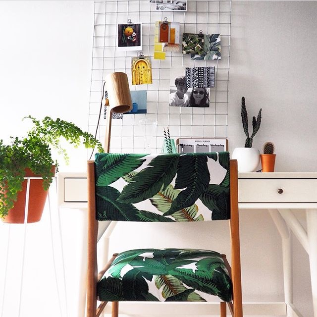 Homebase planter, botanical, banana leaf print, mid century, west elm desk, DIY, Home Styling Inspiration From Instagram