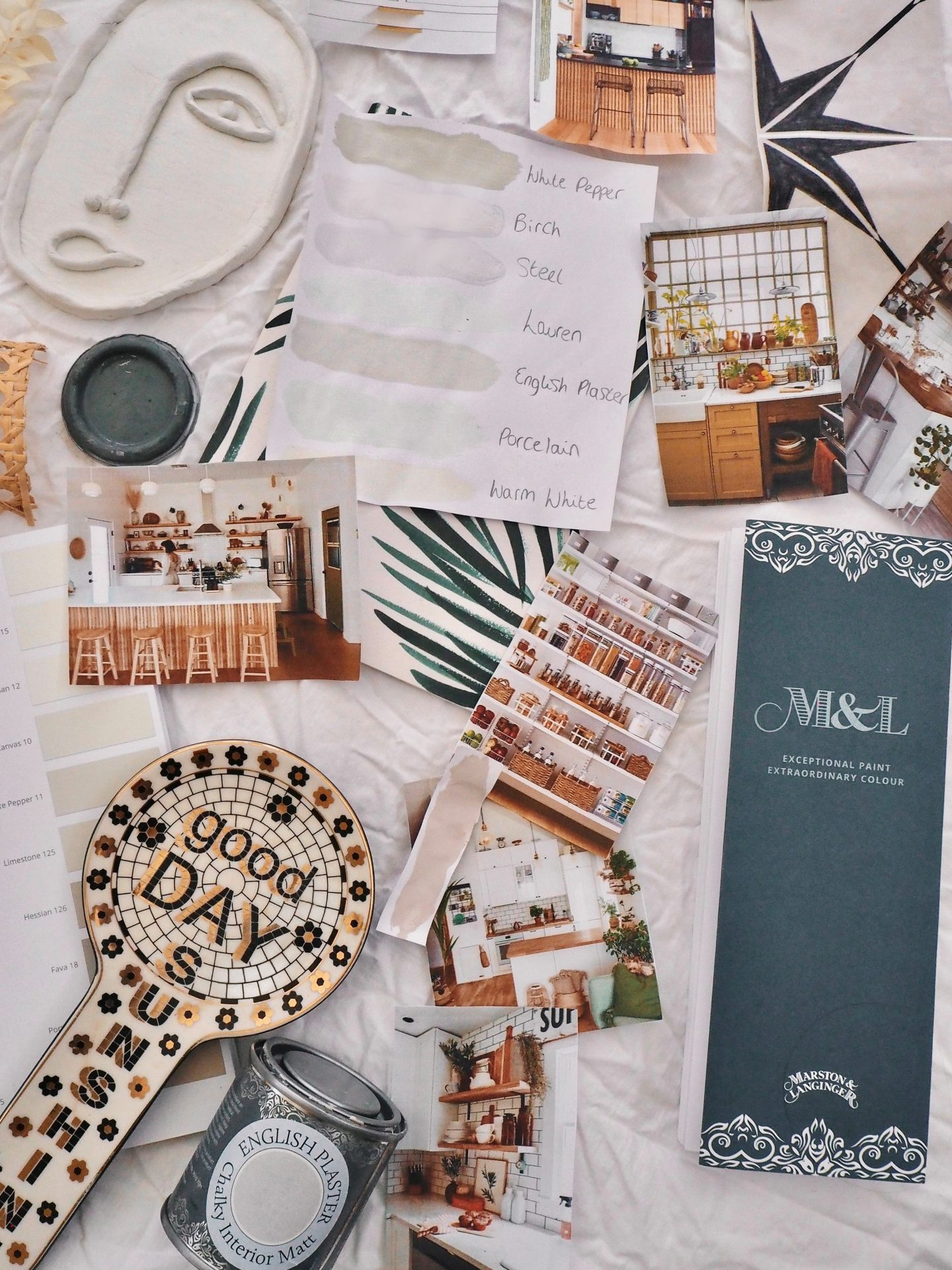 Rental kitchen update mood board, including rattan, crittal, reeded glass and decorative tile stickers